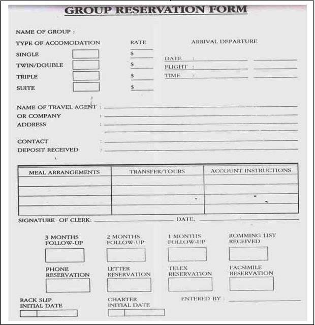Contoh Group Reservation Form